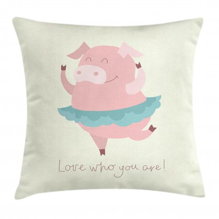 Pig Throw Pillow Cushion Cover, Love Who You Are Quoting with a Happy Ballerina Animal in Tutu, Decorative Square Accent Pillow Case, 16