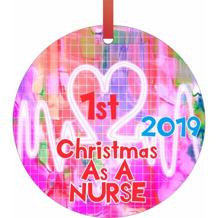 Ornaments Medical 1st Christmas as a Nurse 2019 1st Double Sided Round Shaped Flat Aluminum Glossy Christmas Ornament Tree Decoration ()