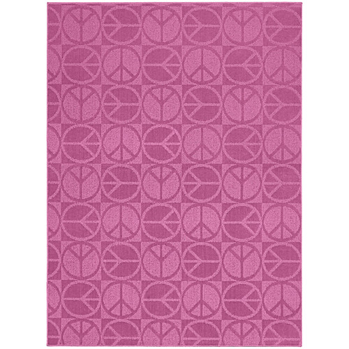 Garland Rug Pink Large Peace Indoor/Outdoor Area Rug