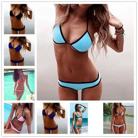 New Women´s Sexy Neon Padded Triangle Push Up Bandage Bra Bikini Set Swimsuit GL Splash Nylon Bikini