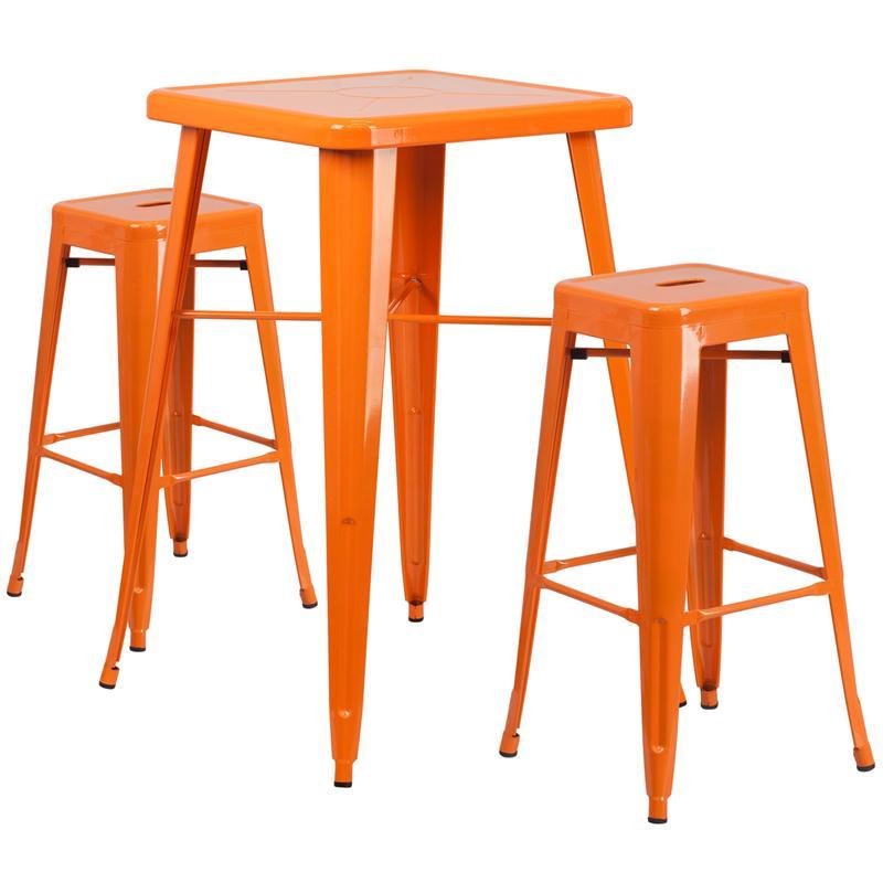 Flash Furniture Metal 3 Piece Bar Table Set in Yellow - image 1 de 7