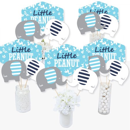 Blue Elephant - Boy Baby Shower or Birthday Party Centerpiece Sticks - Table Toppers - Set of - Baby Shower Centerpieces For Boy