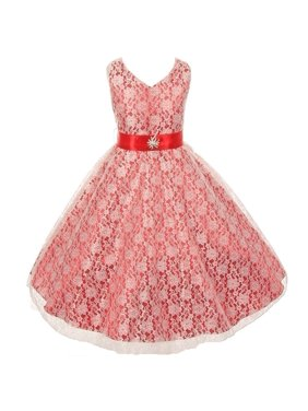 a0735c7b3948e ... by Sophias Style Boutique Inc. Product Image Little Girls Red Lace  Overlay Satin Brooch Sash Special Occasion Dress 6