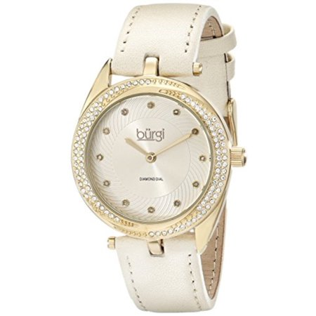 - Burgi Women's BUR122YG Diamond & Crystal Accented Swirl Design Yellow Gold and Cream Leather Strap Watch