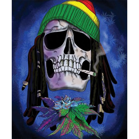 "Rasta Skull Fleece Blanket - 79"" x 94"""