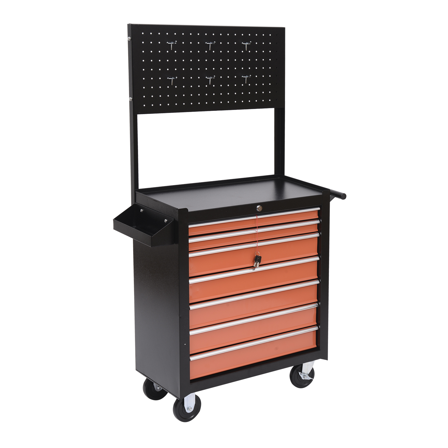 HomCom Heavy Duty Rolling Tool Chest Cabinet w/ 7 Drawers – Black and Orange