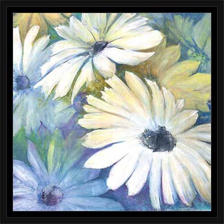 White Daisy Garden Painting Blue, Framed Canvas Art by Pied Piper ...