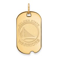 Sterling Silver w/ 14K Yellow Gold-Plated NBA Basketball LogoArt Official Licensed Golden State Warriors Small Dog Tag