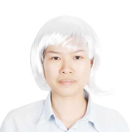 Unique Bargains Woman Cosplay Party Short Straight Hairpiece Flat Bangs Hair Full Wig White