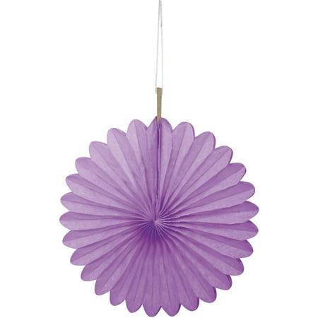 Tissue Paper Fan Decorations, 6 in, Purple, 3ct
