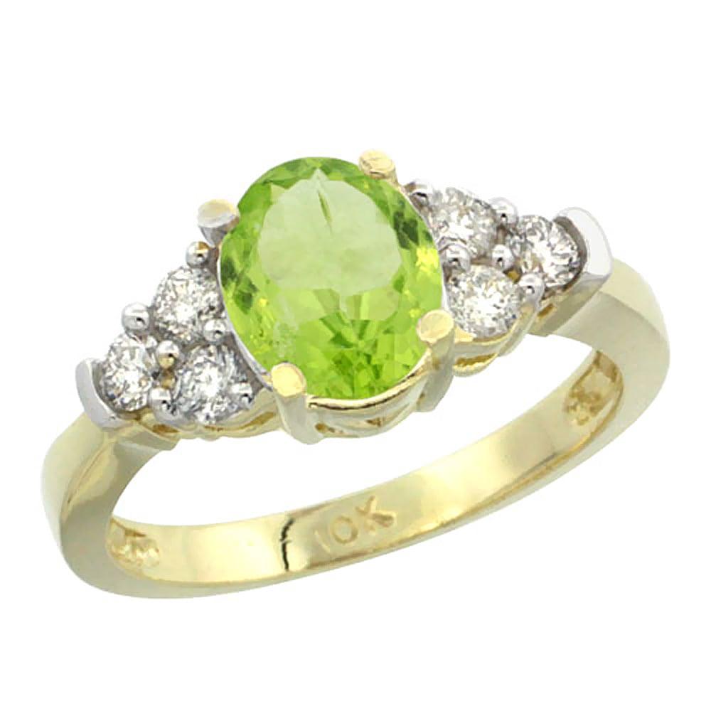 14K Yellow Gold Natural Peridot Ring Oval 9x7mm Diamond Accent, size 6 by Gabriella Gold