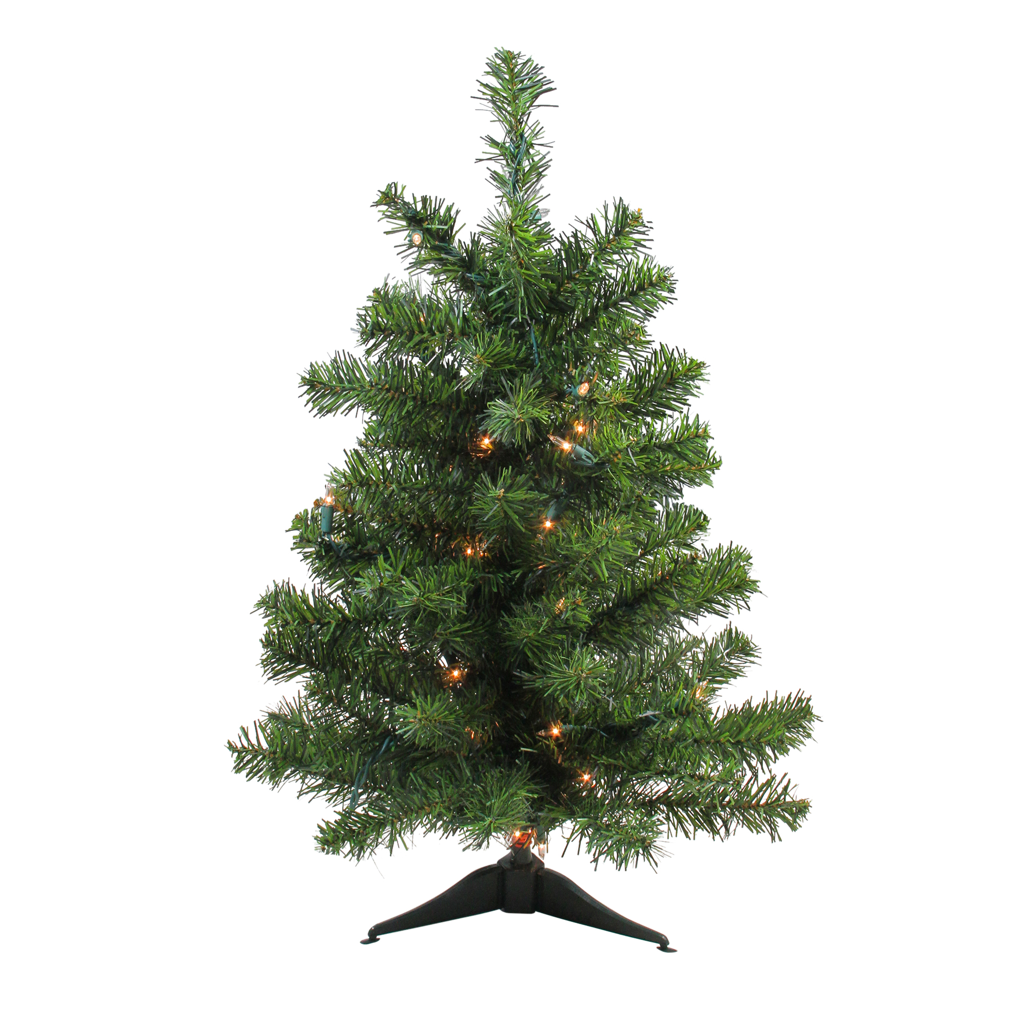 2 Pre Lit Canadian Pine Artificial Christmas Tree Clear Lights