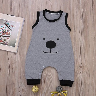 Animal Printed Sleeveless Romper 2016 Wholesale Newborn Infant Baby Boy Cartoon Bear Printed Romper Outfit Clothes