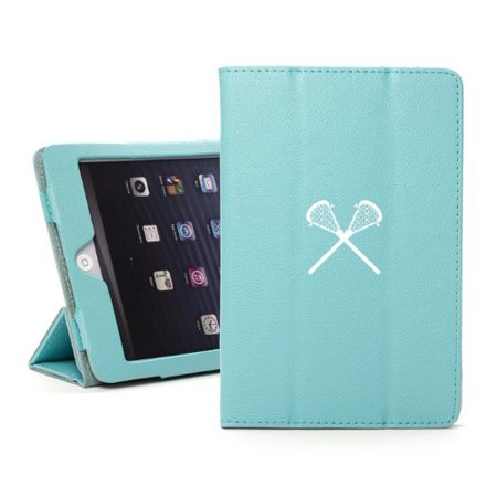 For Apple iPad Mini 4 Light Blue Leather Magnetic Smart Case Cover Stand Lacrosse - Mini Lacrosse Sticks