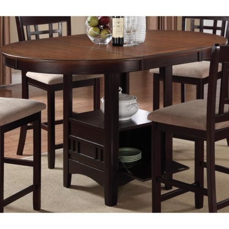 Dual-Tone Counter Height Dining Table With Storage Base, Brown Base Counter Table
