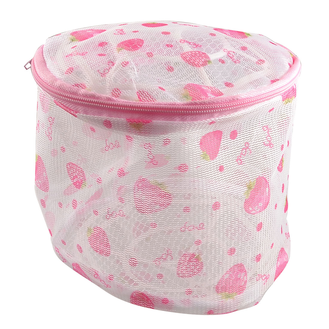 Zipper Lingerie Delicates Bra Mesh Wash Bag Home Household Net Washing Laundry Basket Strawberry Printed Pink White