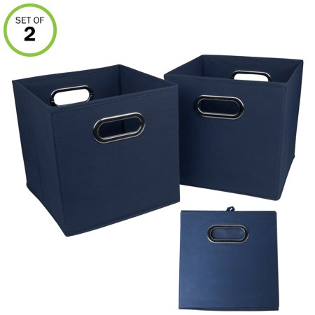 (Evelots Navy Or Black Foldable Fabric Cube Storage Bins, Set Of 2)