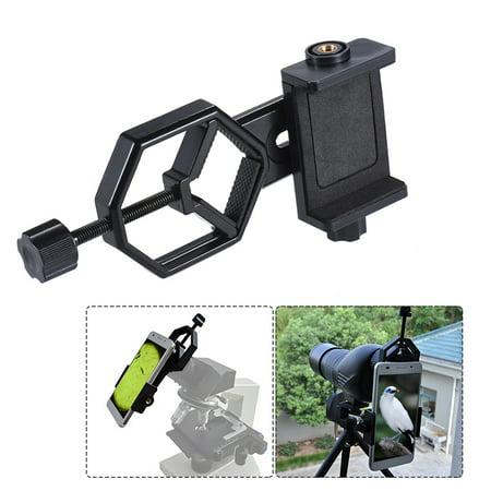 Metal Telescope Mount Adapter Bracket with Adjuatable Smartphone Cell Phone Holder Clip for Binocular Monocular Spotting Scope Microscope for (Best Hunting Spotting Scope For The Money)