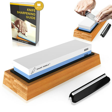 Premium Knife Sharpening Stone 2 Side Grit 1000/6000 Waterstone | Best Whetstone Sharpener | NonSlip Bamboo Base & Angle