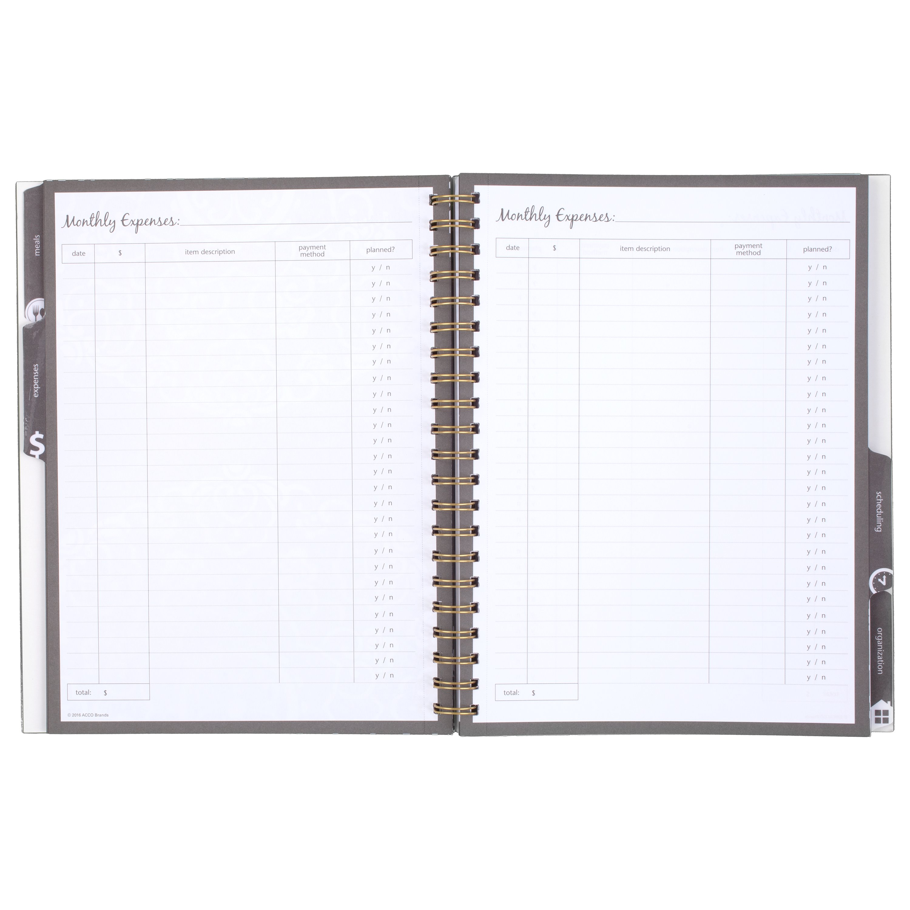 """Mead® Organizher® All in One Weekly/Monthly Memo Book, 12 Months, Undated, 8 1/2"""" x 11"""", Gray(WAW6044218)"""