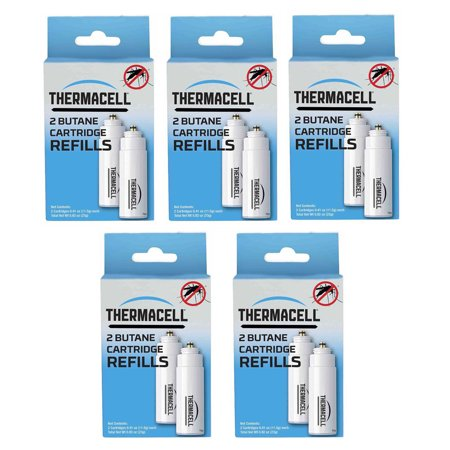 Thermacell C-2 Mosquito Repellent Butane Refill Pack (5-Pack) The Thermacell Mosquito Repeller Refill will refuel the system that effectively repels mosquitoes, black flies, and other biting insects by creating a 15 x 15-foot Zone of Protection for bug-free comfort. Ideal for use while you are camping, hunting, fishing, gardening or around the backyard.Plus, Thermacell products have been evaluated by the EPA for safety and effectiveness.For use with Thermacell repellers, lanterns and torchesCreates 15' x 15' Zone of Protection against bugs or 225 square feetIdeal for camping, hunting, fishing, gardening or around the backyardEach original mat provides up to 4 hours of repellencyContains 2 butane cartridge for 24 hours of useUse when butane runs out before repellent matCan be stored for long periods of timeOdor-freePerfect for the OutdoorsThe Thermacell Mosquito Repeller Refill will refuel the system that effectively repels mosquitoes, black flies, and other biting insects. Ideal for use while you are camping, hunting, fishing, gardening or around the backyard.
