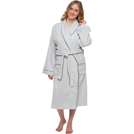 Silver Lilly Women's 100% Cotton Terry Cloth Kimono Spa Bath Robe w/ Piping