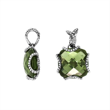 AP-6183-GAM Sterling Silver Cushion Shape Pendant With Green Amethyst
