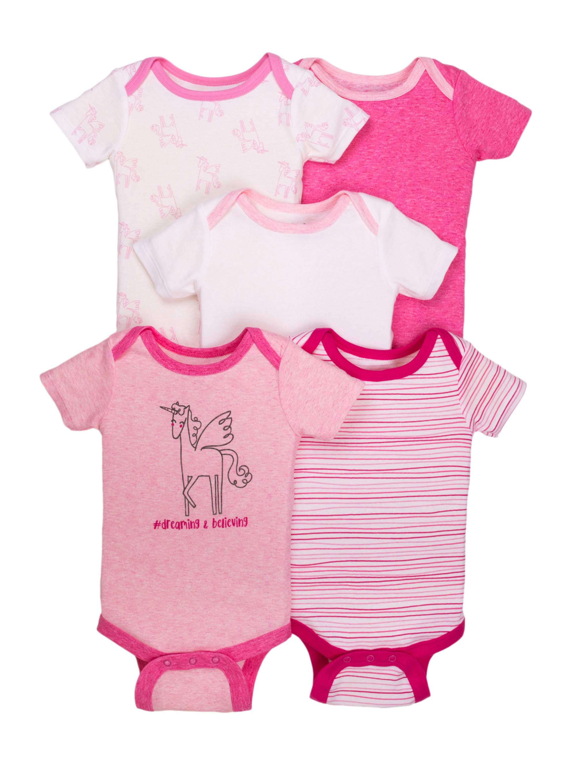 Newborn Baby Girl Assorted Short Sleeve Bodysuit, 5-pack
