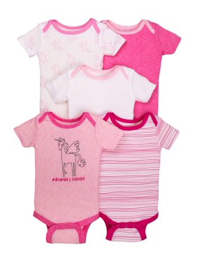 681e2052e Product Image Little Star Organic Newborn Baby Girl Assorted Short Sleeve  Bodysuit, 5-pack