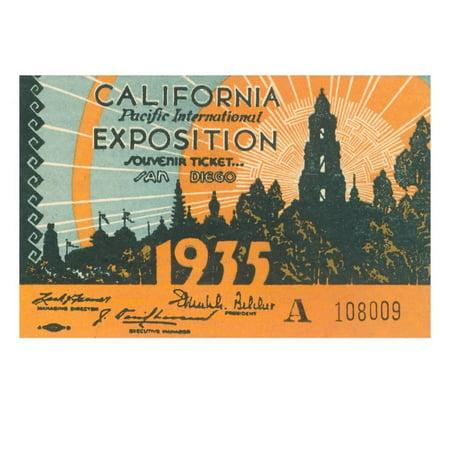 Souvenir Ticket, California Exposition, San Diego Print Wall Art