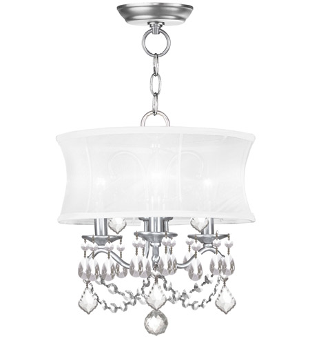 Pendants Porch 3 Light With Off White Silk Shimmer Shade Brushed Nickel size 13 in 180 Watts - World of Crystal