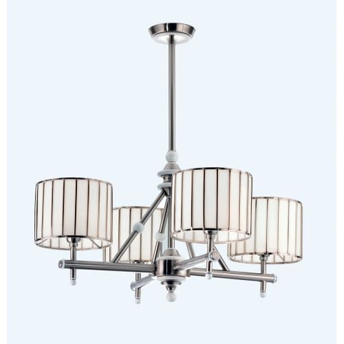 "Meyda Tiffany 82039 Revolution 4 Light 8"" Wide Chandelier with White Glass Shade"