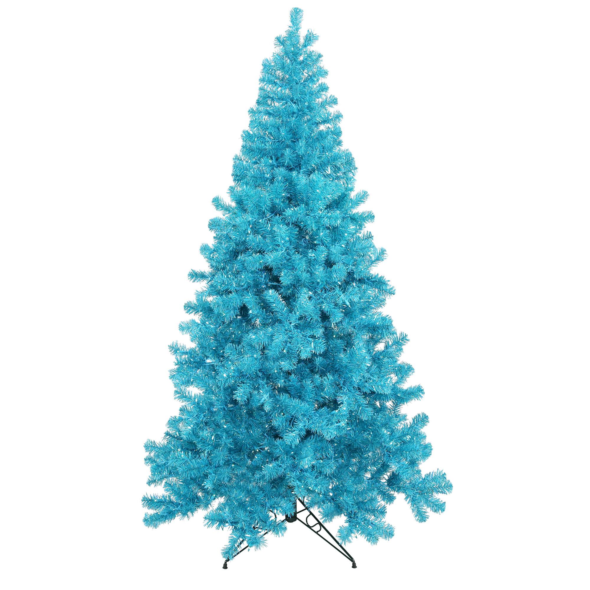 "Vickerman Artificial Christmas Tree 5' x 36"" Sky Blue Tree Dura-lit LED 200 Teal Lights"