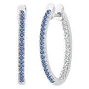 SHAH DIAMONDS INC 10k White Gold 1/3ct TDW Blue and White Diamond Inside Out Hoop Earrings