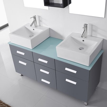 Virtu Usa Maybell 56 Inch Double Bathroom Vanity Cabinet Set In Grey Maybell 56 In  Glass Top In Grey