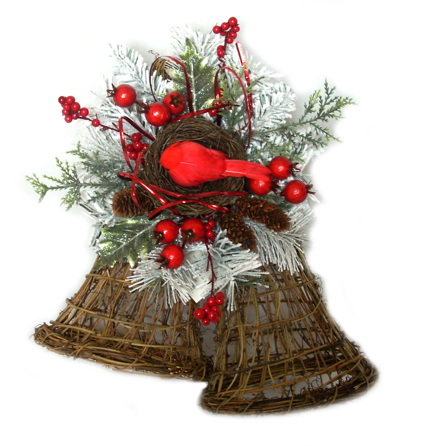 Holiday Time Flocked Holly Berry Bell