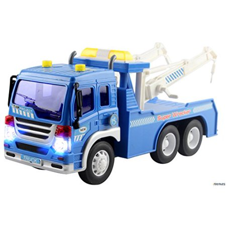 Memtes Friction Powered Wrecker Tow Truck Toy With Lights