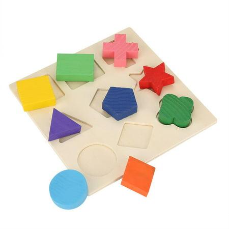 Cergrey Drôle enfants en bois forme de géométrie Puzzle en bois empilant bloc de construction apprentissage précoce jouet, jouet de bloc de construction, bloc empilable - image 1 de 7