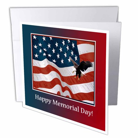3dRose Eagle Landing on U.S. Flag, Memorial Day, Greeting Cards, 6 x 6 inches, set of 12