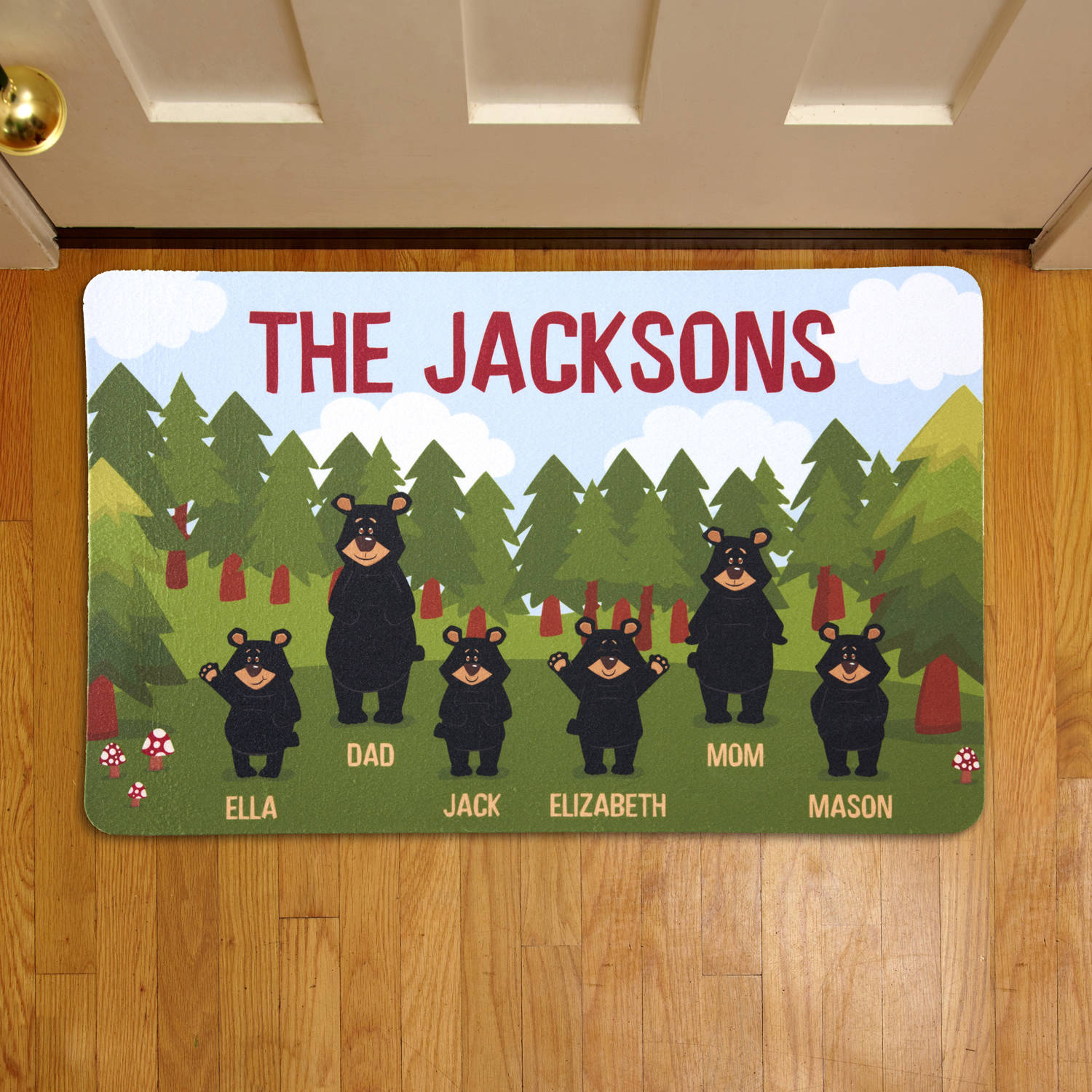 Personalized Bear Family Doormat, Couple or Single Parent with 1-4 Kids