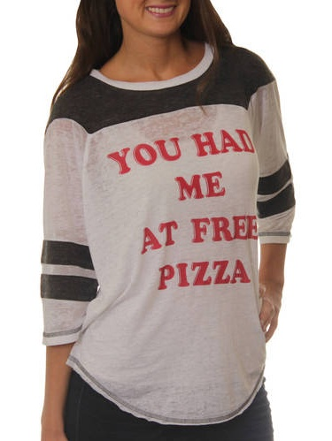 Women's You had me at Free Pizza Graphic Football T-Shirt
