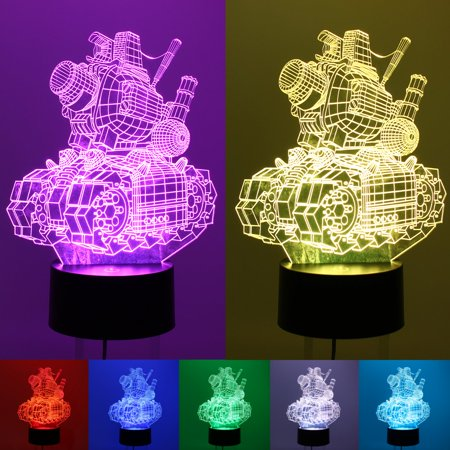 Asewan 3D LED Kids Night Light 7 Colors Changing Illusion Visualization Lamp Remote Control Table Desk Lamp for Boys Girls Kids Adults Children Toy Birthday ()