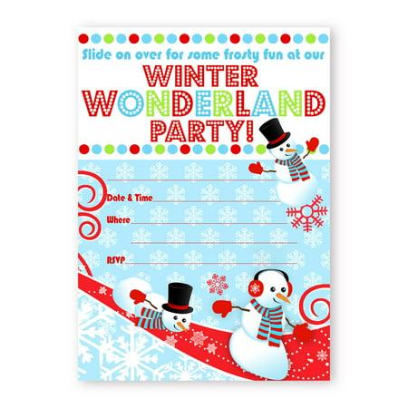 Snowman LARGE Invitations - Winter Wonderland Invitations - 10 Invitations 10 Envelopes Name Snowman Winter Wonderland