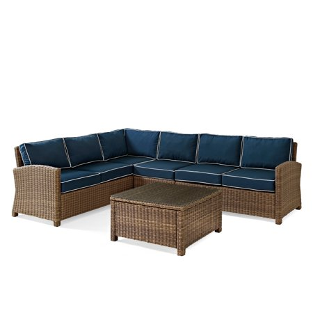 Five Piece Sectional Set - Crosley Bradenton 5 Piece Outdoor Wicker Sectional Conversation Set