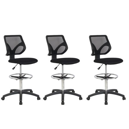 Cool Living Mesh Fixed Upright Adjustable Height Drafting Chair, Black (3 Pack)