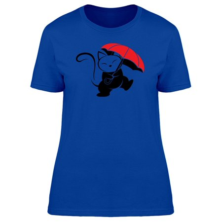 Cat Caricature With Umbrella Tee Women