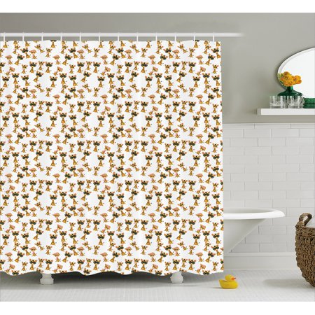 Giraffe Shower Curtain, Baby African Safari Animal Romantic Characters Boy and Girl Mascots, Fabric Bathroom Set with Hooks, 69W X 75L Inches Long, Pale Brown Pink Yellow, by Ambesonne
