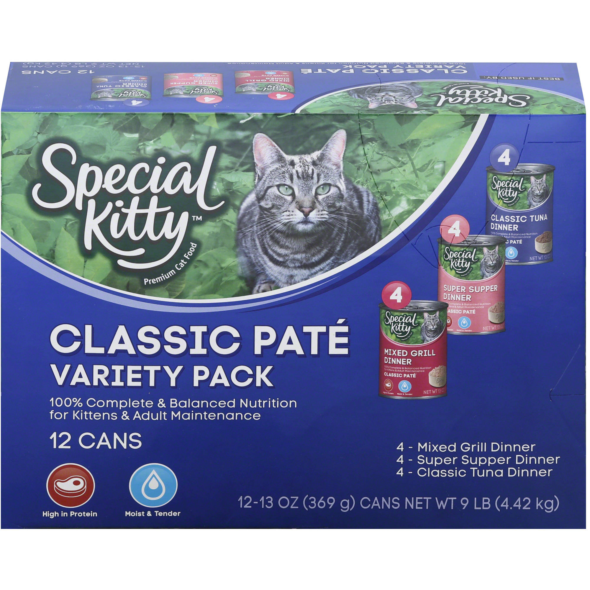 (2 pack) Special Kitty Classic Paté Wet Cat Food Variety Pack, 13 oz, 12 count