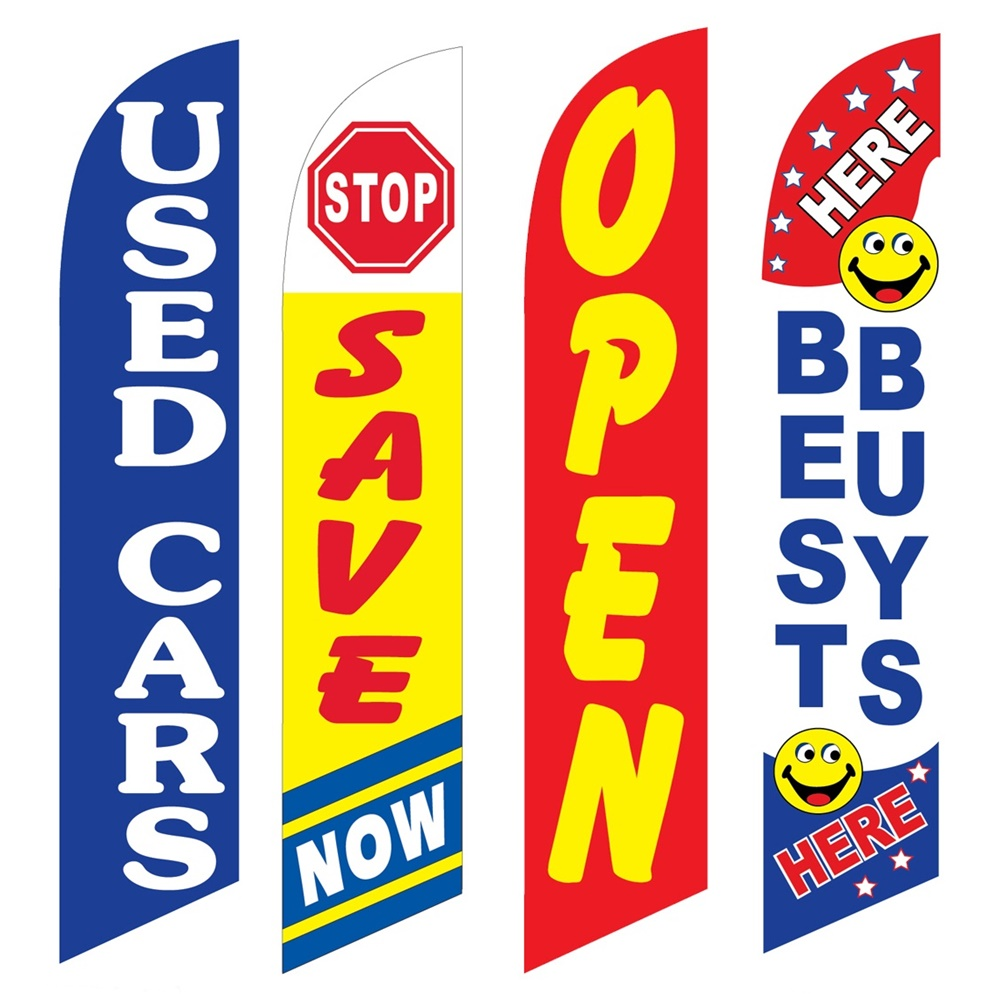 4 Advertising Swooper Flags Used Cars Save Now Open Best Buys