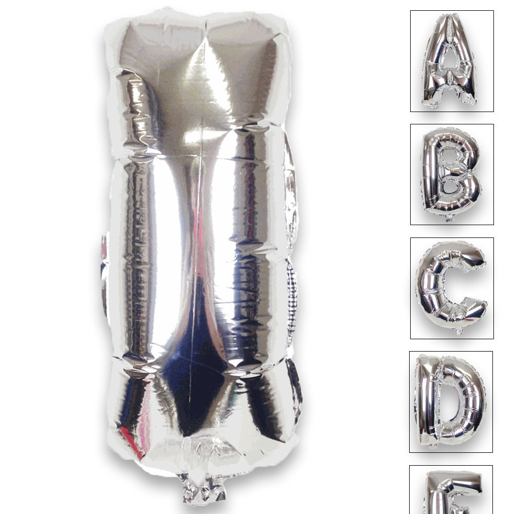 Just Artifacts Shiny Silver (30-inch) Decorative Floating Foil Mylar Balloons - Letter: I - Letter and Number Balloons for any Name or Number Combination!